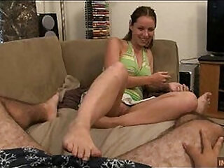 Massive footjob cumshot by hot step sister