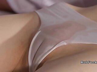 Small tits brunette hottie gets facial cumshot from masseur