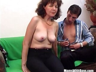 Brunette Hairy Pussy of Mature Couch Fucked Young Cock
