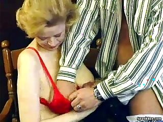 Granny with saggy tits hairy pussy gets her asshole fucked